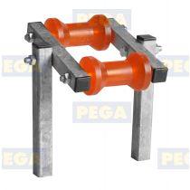 Dubbel kielrolstel 125 mm lengte x 80 mm diameter polyurethaan met steunpijp 25 cm