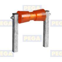 Polyurethaan kielrol 200 mm lengte x 80 mm diameter met steunpijp 25 cm / 30-30 mm